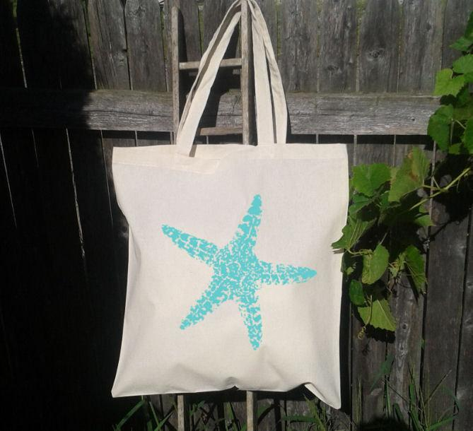 LARGE Starfish Image Tote Bag, Bridesmaid Tote, Beach Bag, Canvas ...