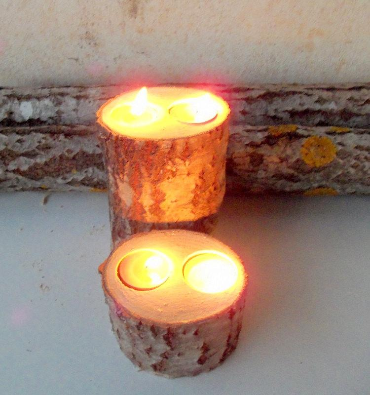 2 Wood Candle Holders