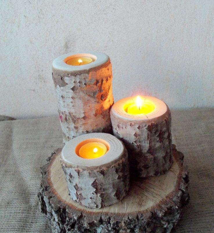 3 Wood Candle Holders Table Centerpiece Log White Tree Wedding Decoration Home