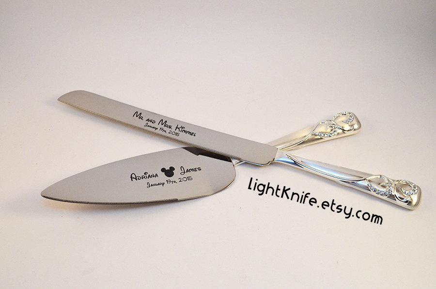 Disney Wedding Black Engraved Wedding Cake Knife And