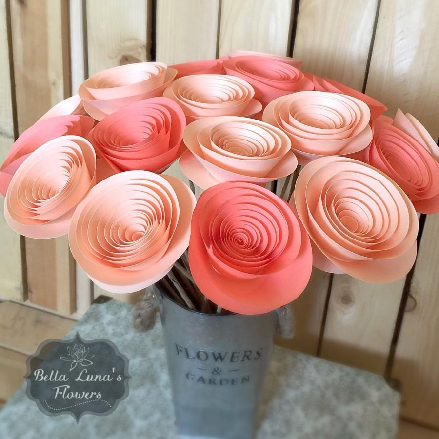 Paper Flowers Stemmed Peach C Salmon Wedding Home Decor Baby Shower Mother S Day You Customize Any Colors