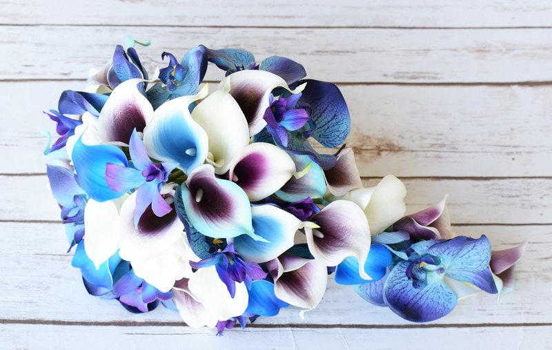 Wedding Picasso Purple Blue And Turquoise Bride Cascade Teardrop ...
