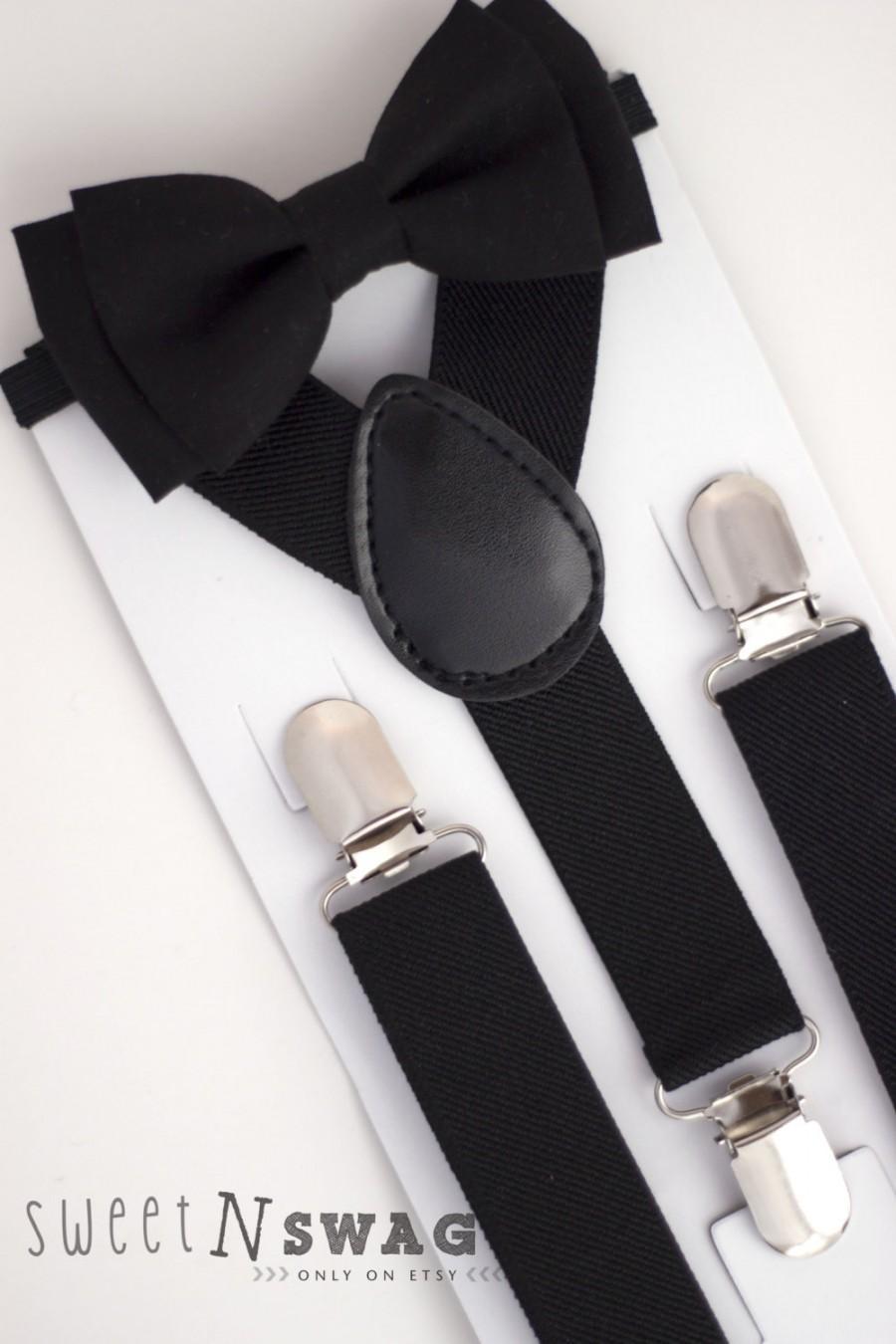 Wedding - SUSPENDER & BOWTIE SET.  Newborn - Adult sizes. Black Suspenders. Black bow tie.