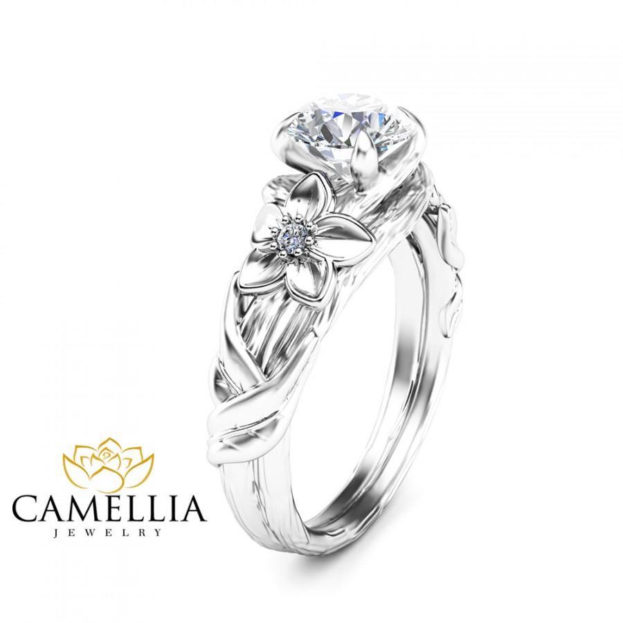 Wedding - Diamond Engagement Ring 14K White Gold Diamond Ring Unique Engagement ring Branch Engagement Ring .