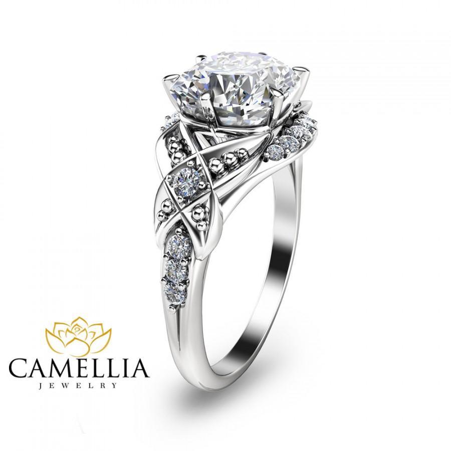 Wedding - Cushion Cut Engagement Ring 14K white Gold Engagement Ring Cushion Cut Diamond Engagement Ring Halo Engagement Ring