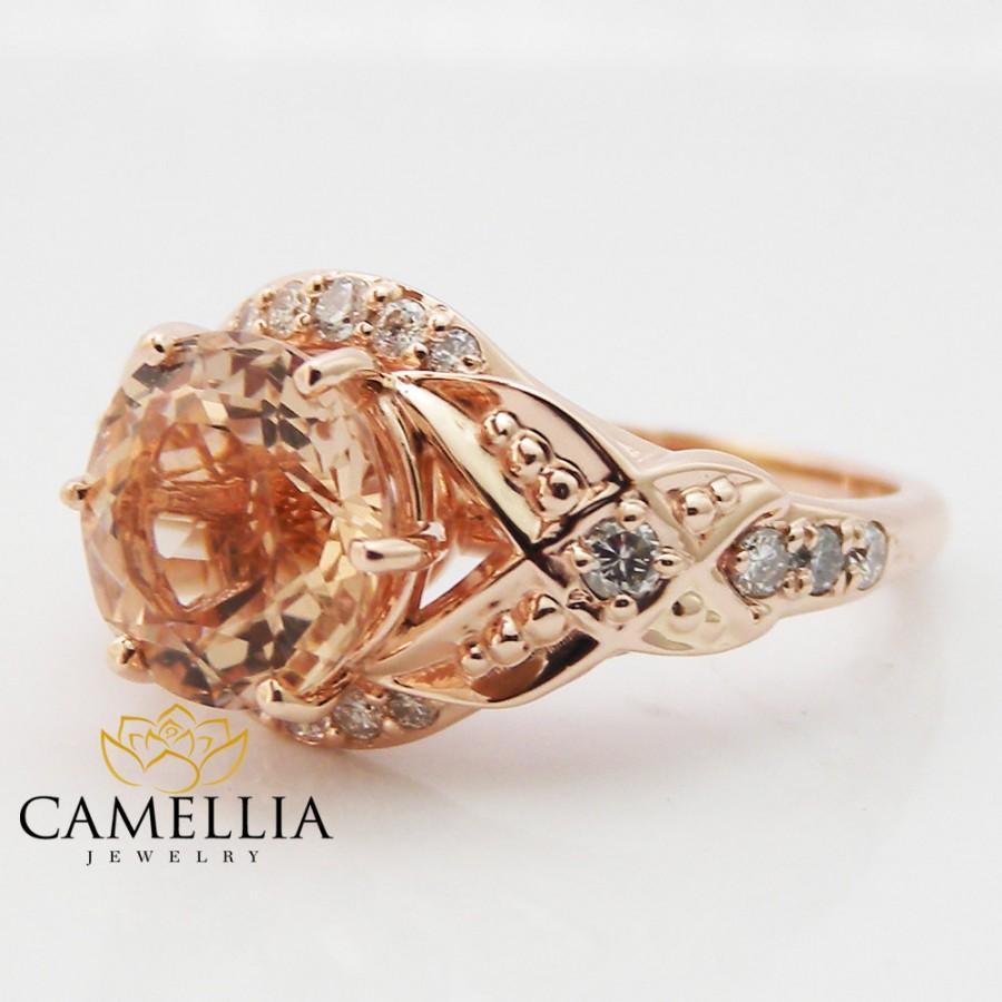 Wedding - 14K Rose Gold Morganite Ring Uniqe Engagement ring Leaf Design