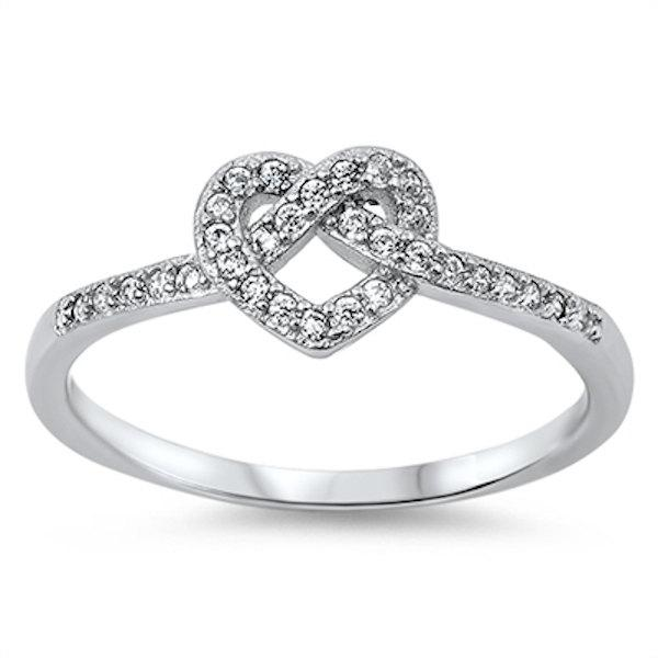 Mariage - Cute 925 Sterling Silver 0.35 Carat Round Russian Iced Out Diamond CZ Heart Shape knot Wedding Engagement Promise Anniversary Ring Love Gift