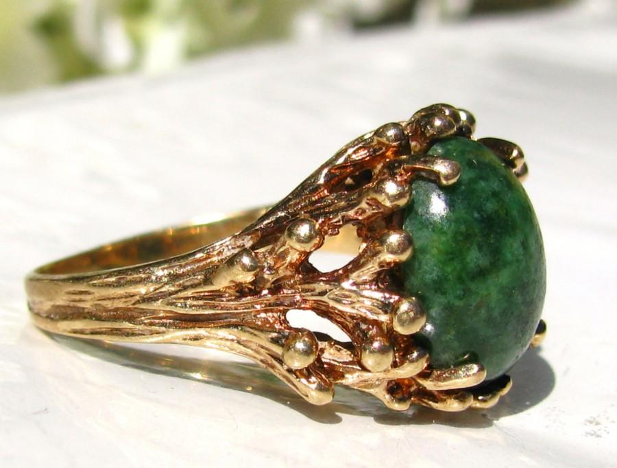 Mariage - Jade Green Colored Esemco Art Deco Ring Unique Naturalist Style Ring Alternative Engagement Ring 10K Yellow Gold Branch Ring Size 8!