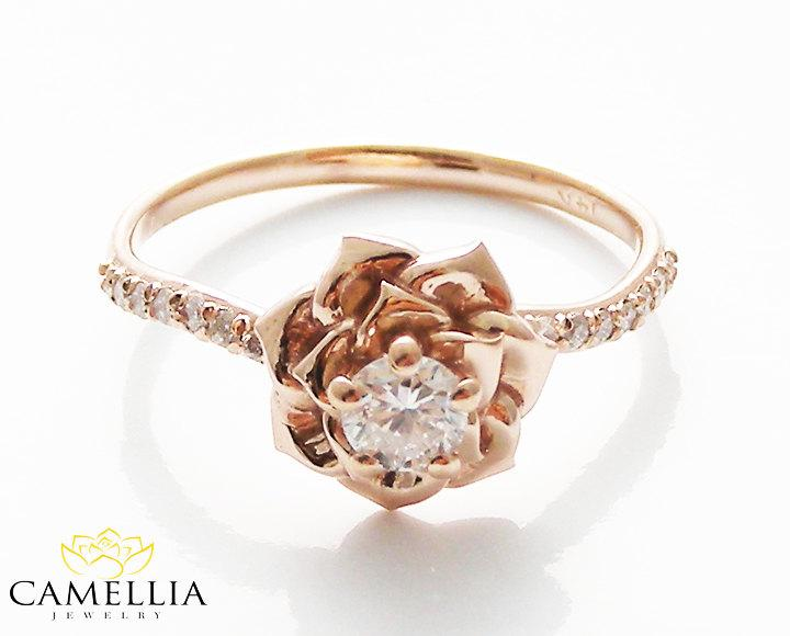 14k gold engagement ring by camellia jewelry