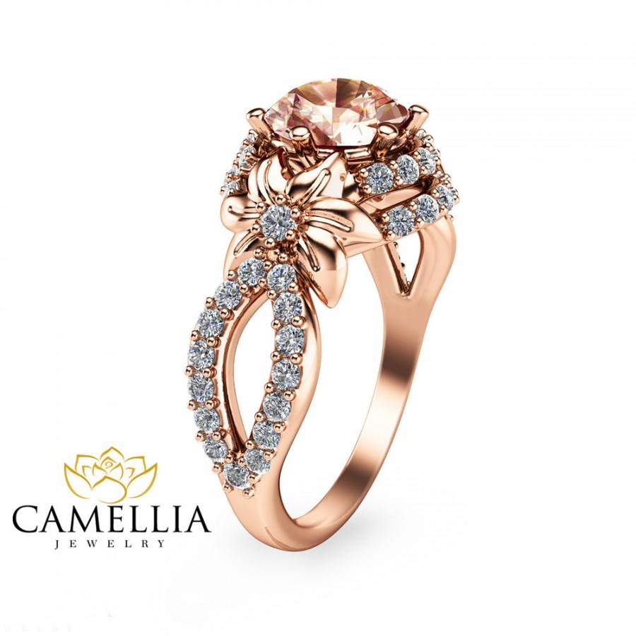 14K Rose Gold Morganite Engagement Ring Rose Gold ...