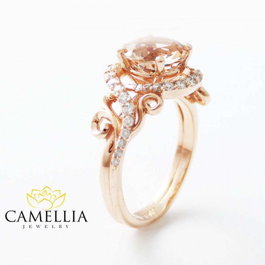 Mariage - 14K Rose Gold Engagement Ring Rose Gold Morganite Ring Peach Pink Morganite Engagement Ring Unique Engagement Ring