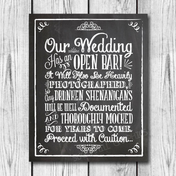 Mariage - Chalkboard Shenanigans Wedding Sign, Printable Wedding Sign, Chalkboard Open Bar Sign, Shenanigans Sign, Wedding Decor, Instant Download