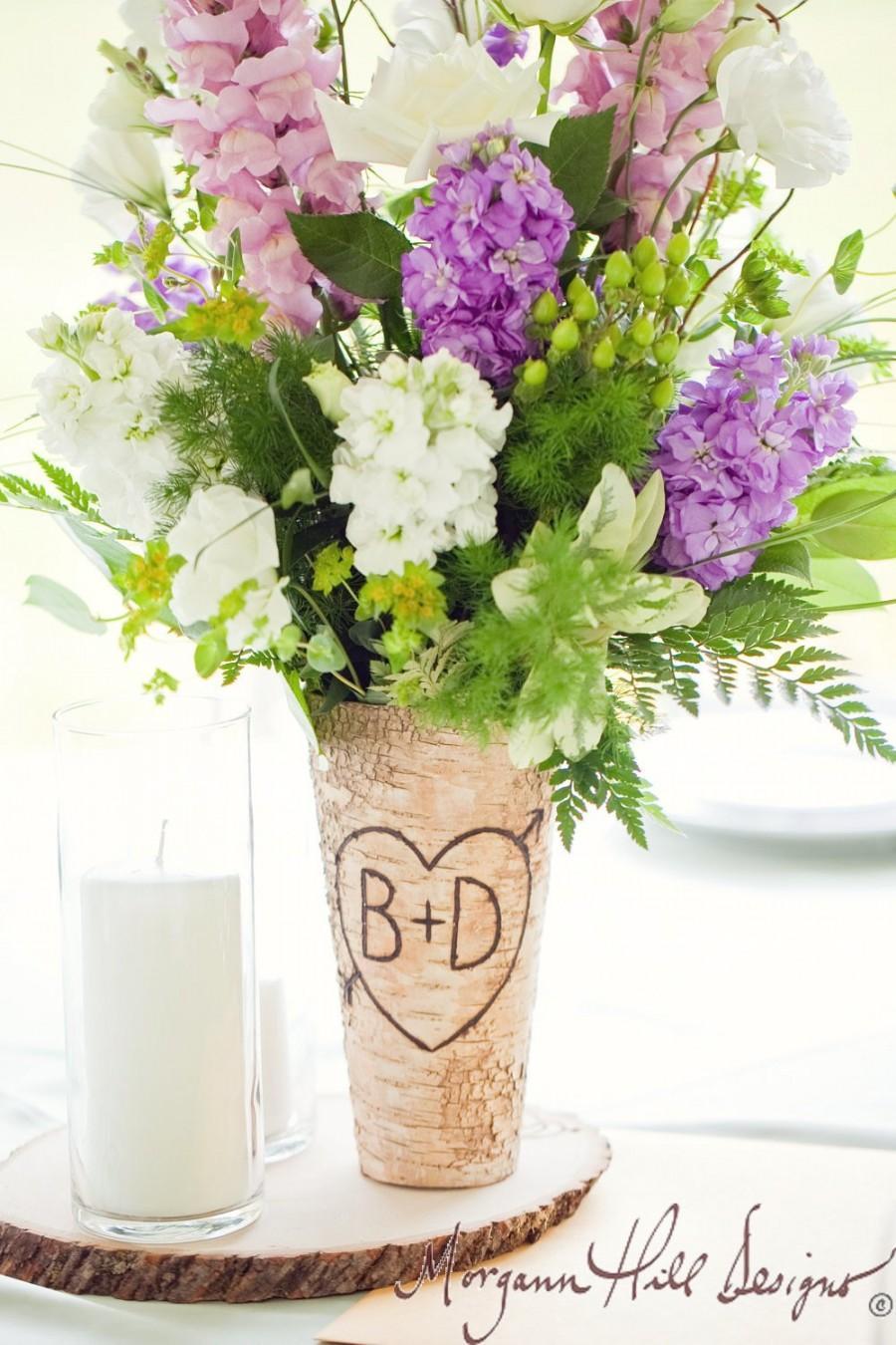 Mariage - Personalized  Birch Bark Centerpiece Vase Rustic Wedding (Item Number 140166)