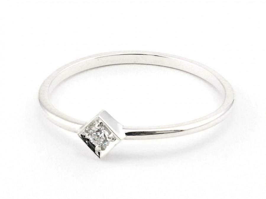 14 K White Thin Gold Wedding Band Engagement Ring Wedding Ring