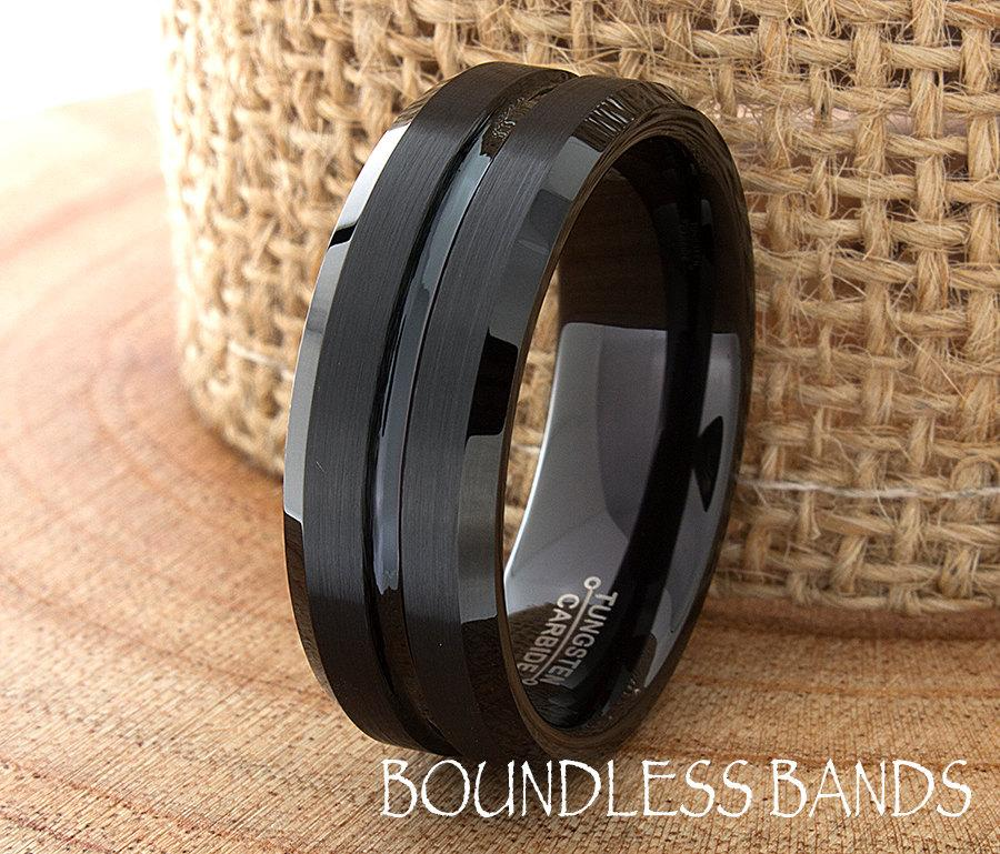 Mariage - Black Tungsten Wedding Band Ring Beveled Edges Grooved Customized Tungsten Band Any Design Laser Engraved Ring Mens Tungsten Ring His Hers