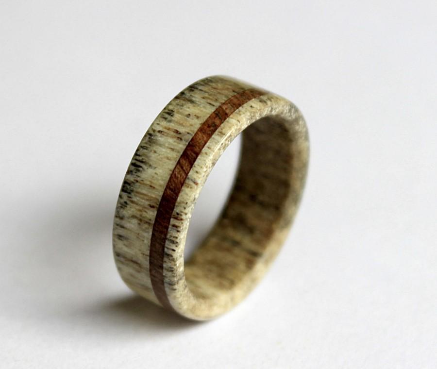 Mariage - Deer Antler Ring, Antler Ring, Wooden Ring, Antler Ring Inlaid With Oak Wood