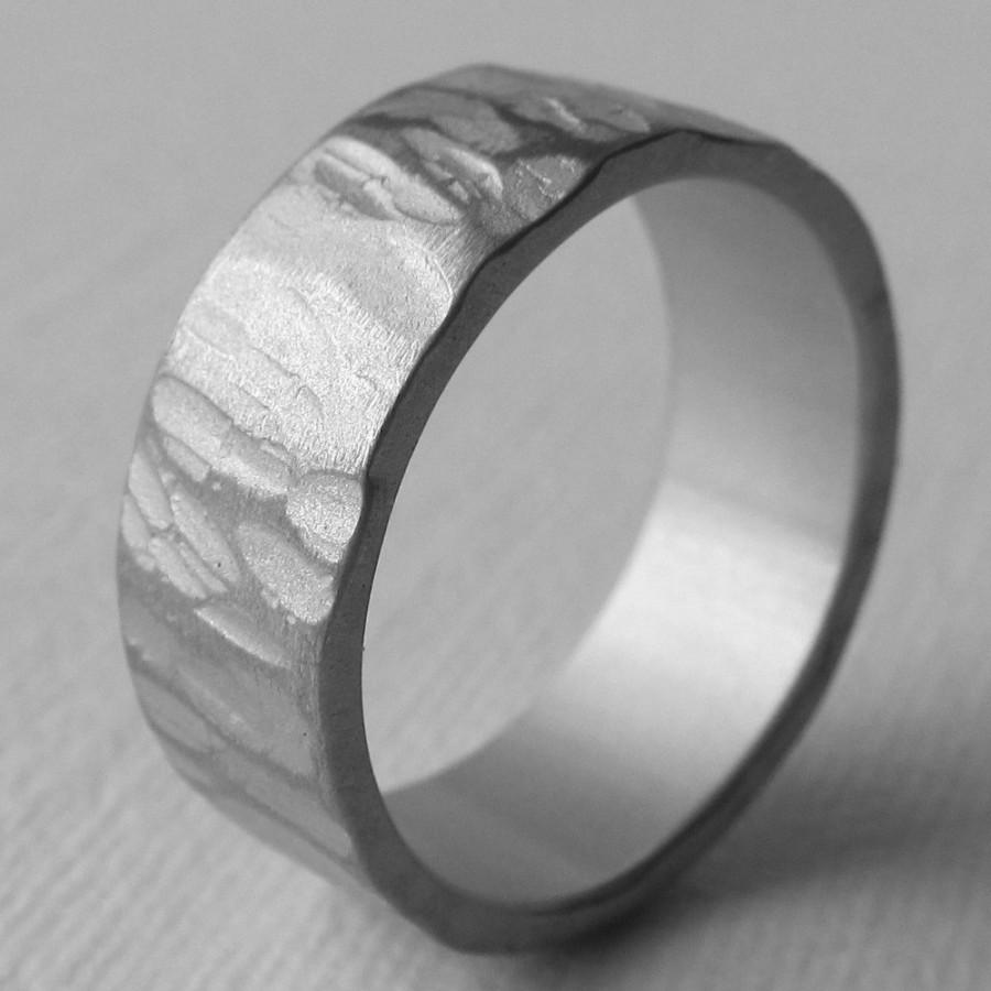 Men S Aluminum Wide Textured Wedding Ring 10th Anniversary