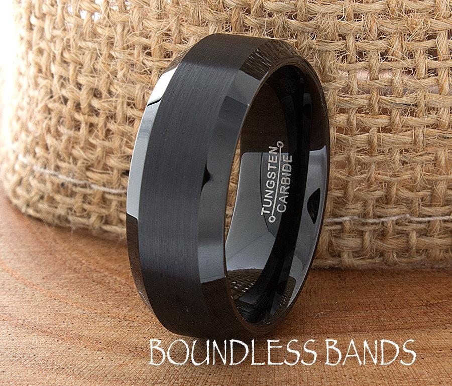 Mariage - Black Tungsten Band Beveled 8mm Custom Laser Engraved Tungsten Anniversary Ring Couple Wedding Ring Mens Womens Ring Brushed Black His Hers