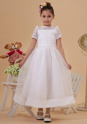 Mariage - 2015 Tulle Short Sleeves Appliques Bowknot White Straps Ruched Tea Length
