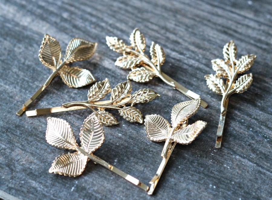 زفاف - Boho Gold Leaves Bridal Hair Pin Set,Vintage Leaf Wedding Hair Pin,GrecianLeaves Hair Pins,Gold Wedding Bobby Pins,Gilded Leaves Bobby Pins