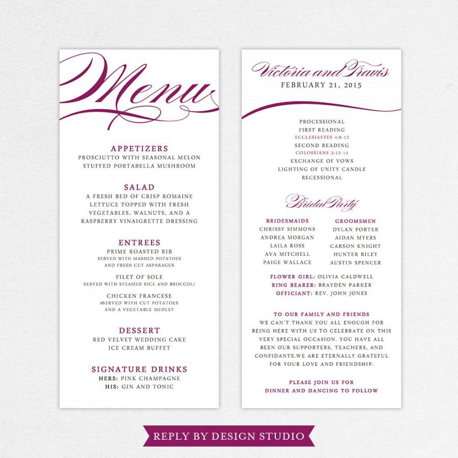 Wedding Menu And Program (Pirouette)Digital Files/DIY