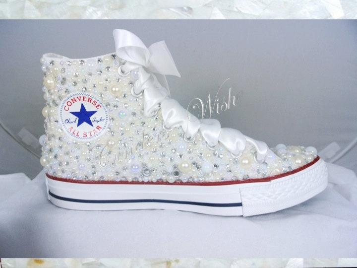 0897260f6cc1f5 High top Luxury pearl sparklers   All over converse   Bridal converse   Wedding  converse   pearl converse   bling converse   prom converse