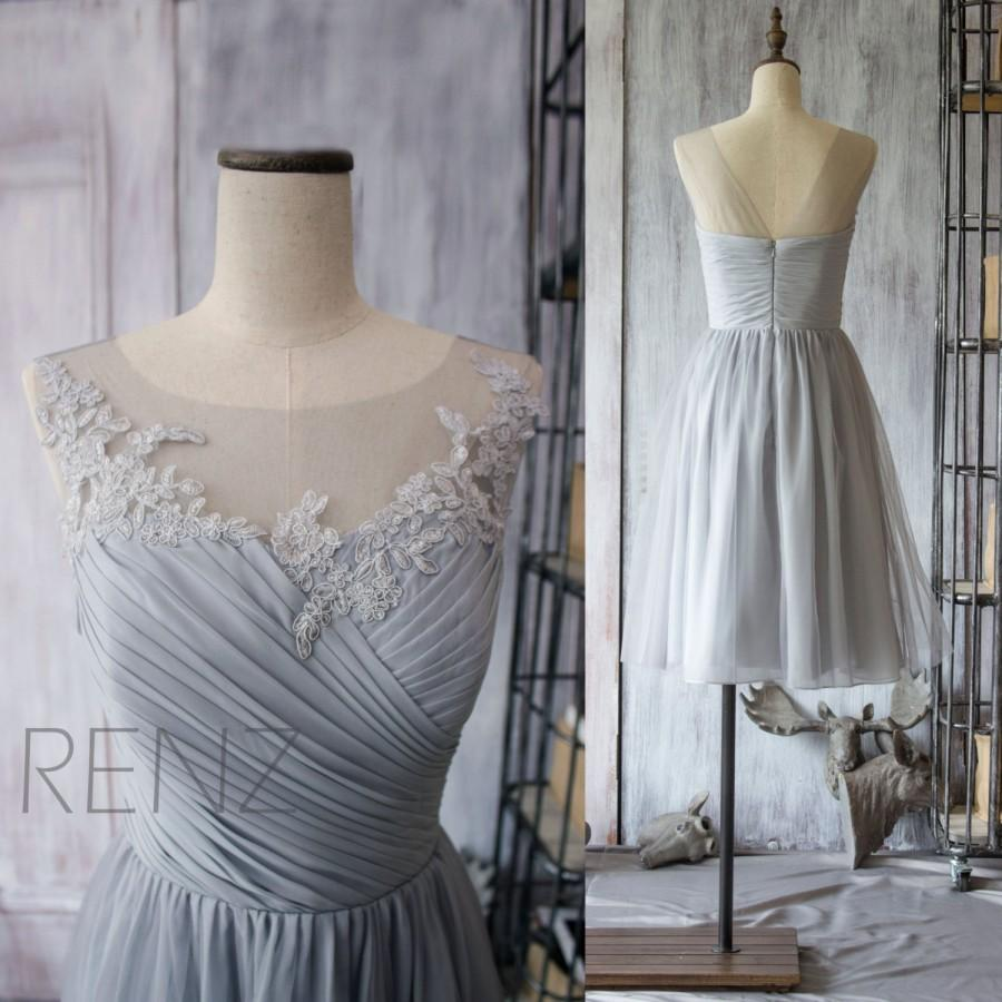 Wedding - 2015 Grey Bridesmaid Dress, Chiffon Cocktail Dress, A line Gray Prom Dress, Short Lace Wedding dress, Formal dress tea length (F149)-Renz