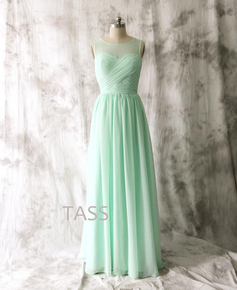 Mint Bridesmaid Dress Wedding Long Chiffon Straps Party Formal Simple Prom