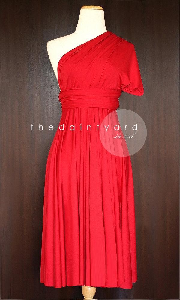 زفاف - Short Straight Hem Red Bridesmaid Dress Convertible Dress Infinity Dress Multiway Dress Wrap Dress Wedding Maid of Honor Dress Prom Dress