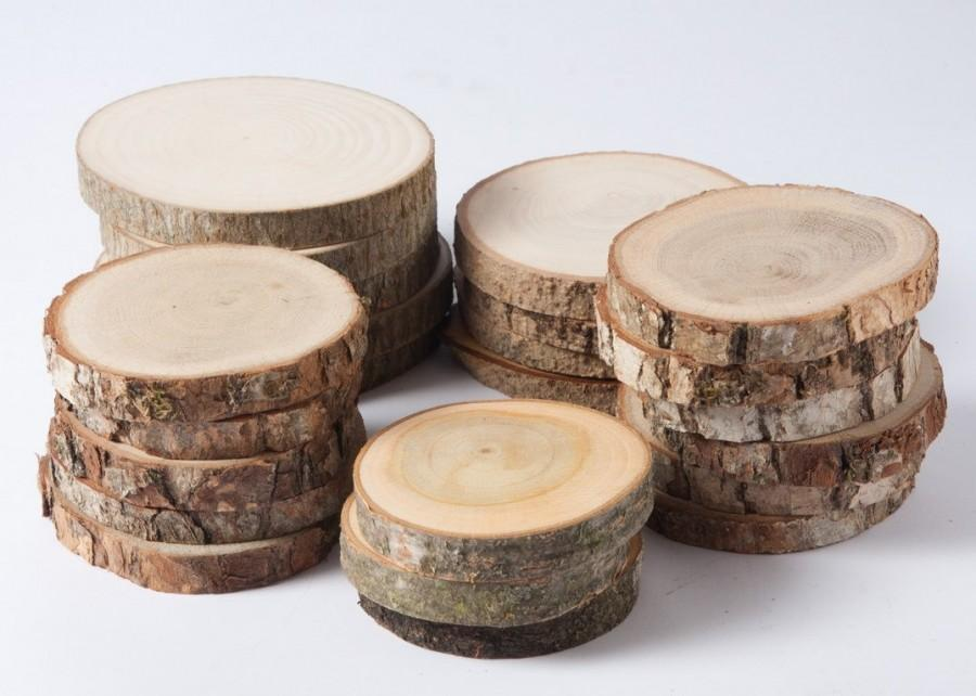 Mariage - SALE 20 assorted wood slices, rustic wood slices for weddings,  favors, crafts & more - set of 20 blank wood slices for christmas tags