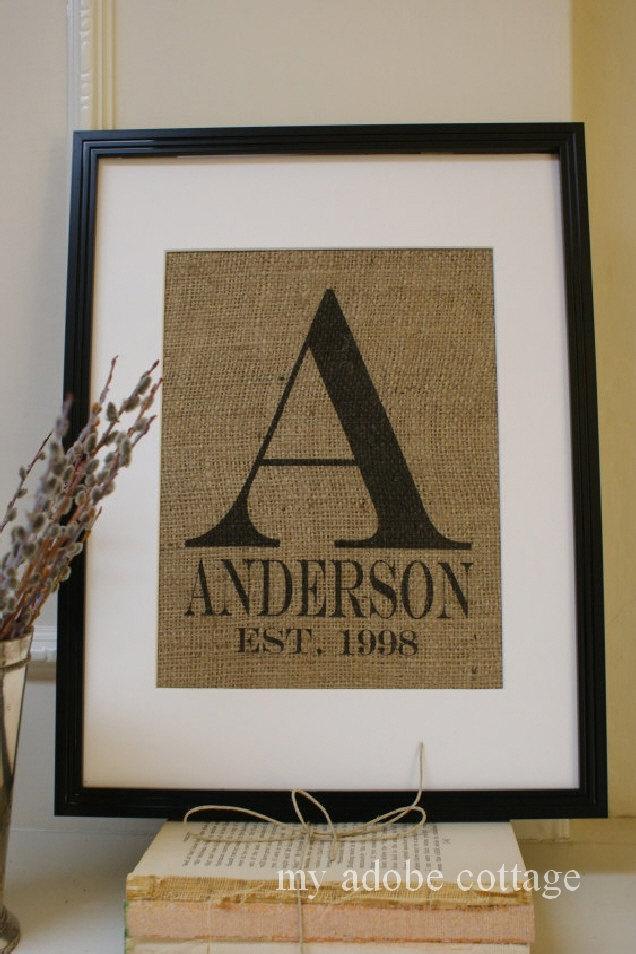 زفاف - Personalized Wedding Monogram Burlap Print...Great for engagement, wedding or anniversary!