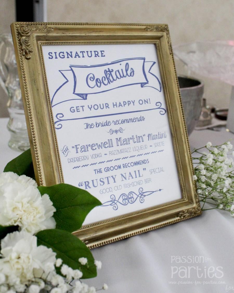 زفاف - Wedding Signature Cocktail Sign