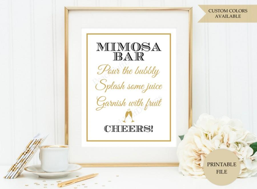 picture about Mimosa Bar Sign Printable titled Mimosa Bar Indicator (PRINTABLE Report) - Mimosa Bar Printable