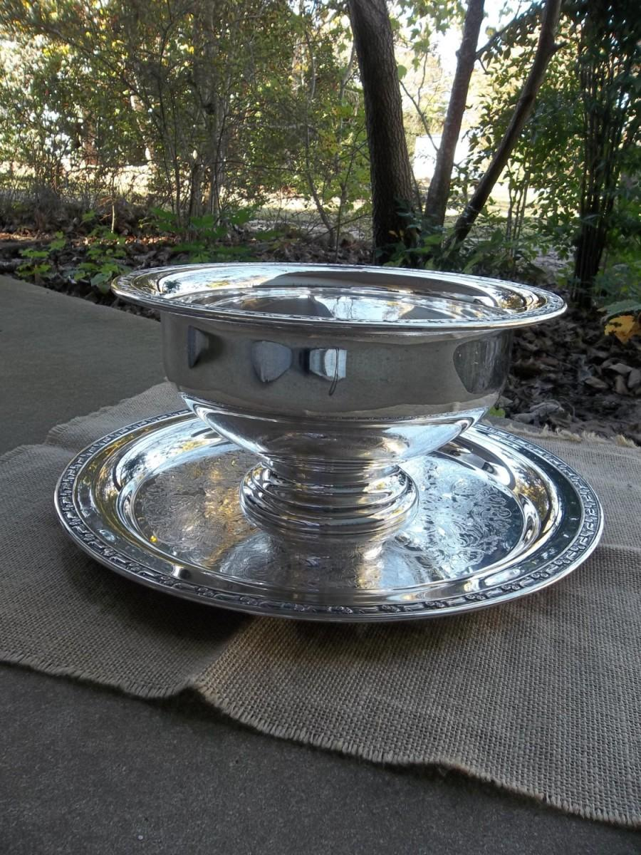 Antique Silver Punch Bowl And Tray Plate Centerpiece Vintage Wedding Decor Table Settings Barware French Country