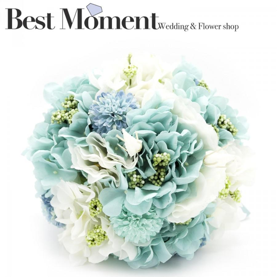Tiffany Blue Fabric Flower Bouquet Balloon Flower And Hydrangea For ...