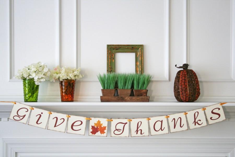 Hochzeit - Fall Banner Thanksgiving Decor Give Thanks Banner Fall Decoration Thanksgiving Banner