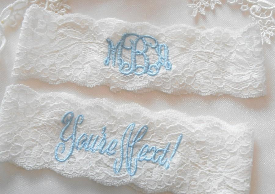 Hochzeit - MONOGRAMMED Wedding Garter MONOGRAMMED Bridal Garter Floral Stretch Lace Bridal Garter Single Garter