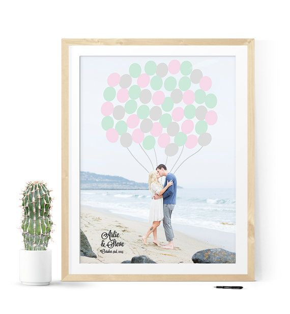 Mariage - Photo Guest Book Alternative With Engagement Photo For Beach Wedding, Unique Wedding Guest Book Idea