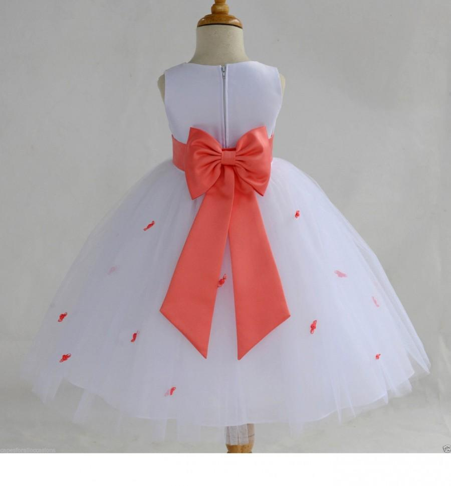 93b710d03f1 White Coral Rosebud Flower girl dress tiebow sash pageant wedding bridal  recital tulle bridesmaid toddler sizes 12-18m 2 4 6 8 10 12