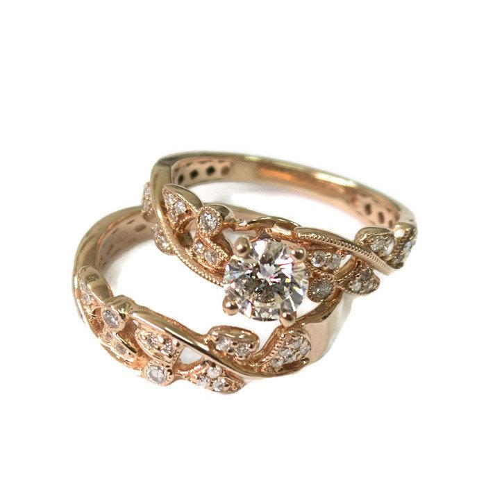 Leaves Engagement Set Rose Gold 14k Prong Setting Conflict Free Diamond Wedd