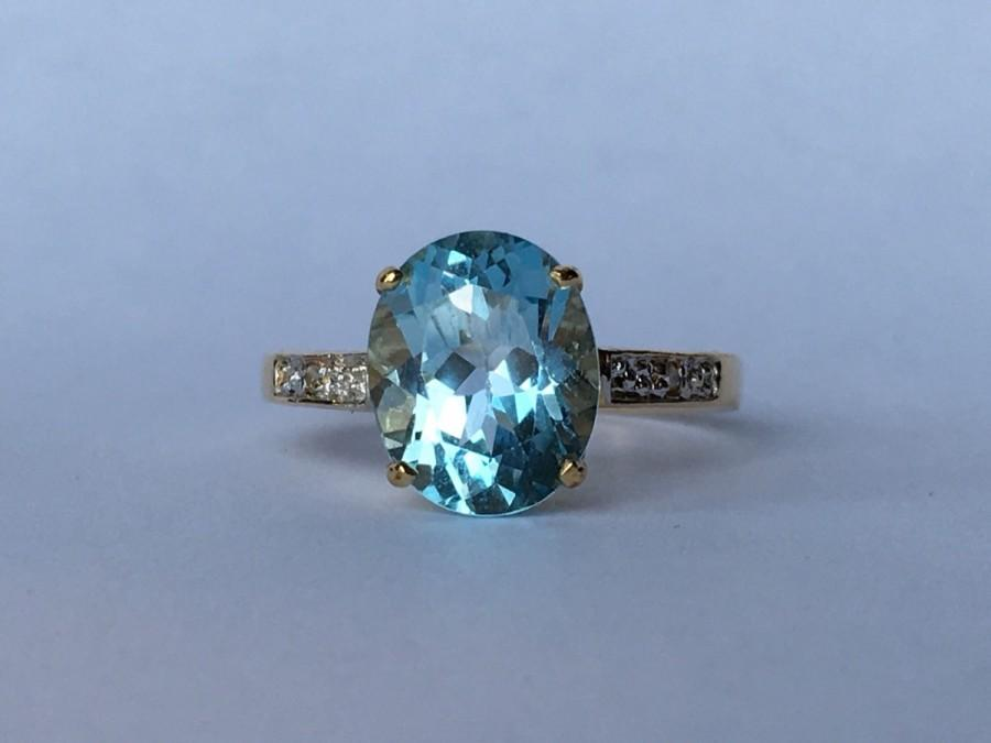 Vintage Blue Topaz Ring 2 Carat Oval Blue Topaz In 10k Yellow Gold
