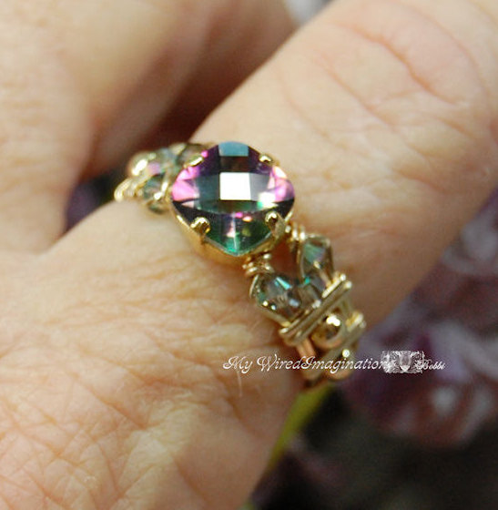 زفاف - Rainbow Mystic Topaz Checkerboard Cut Hand Crafted Wire Wrapped Ring Orignal Signature Design Fine Jewelry