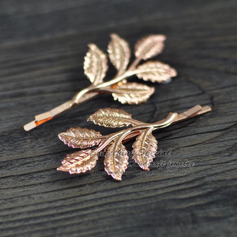Hochzeit - Branch hair pin Rose gold tree branch leaf hair clip Branch bobby pin Natural inspired Woodland wedding Bridesmaid Bridal Hair Accssories