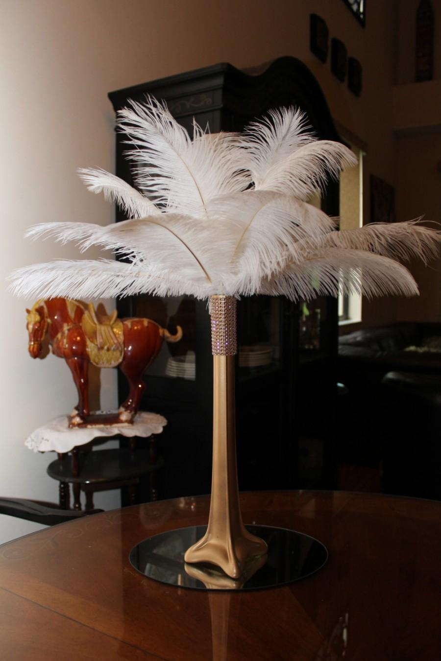 Ostrich feather centerpiece quot gold eiffel tower with