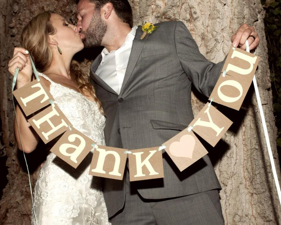 Hochzeit - Thank You Sign / Rustic Wedding Banner Photo Prop - Wedding Sign - Wedding Decoration