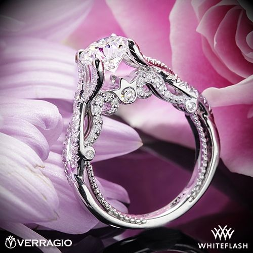 زفاف - 14k White Gold Verragio INS-7060 Intertwined Diamond Engagement Ring
