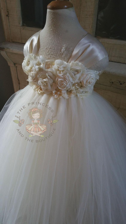 Wedding - ivory flower girl dress, ivory tutu dress, ivory dress, ivory girls dress, girls dress, ivory baby dress, baby dress, tutu dress, ivory