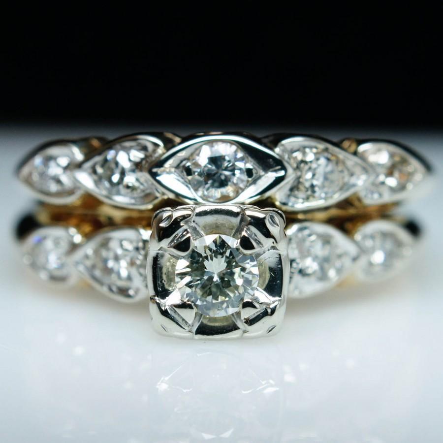 زفاف - SALE - Vintage Engagement Ring Diamond Illusion Set Ring and Wedding Band Complete Wedding Ring Set 14k Yellow Gold - Free Sizing