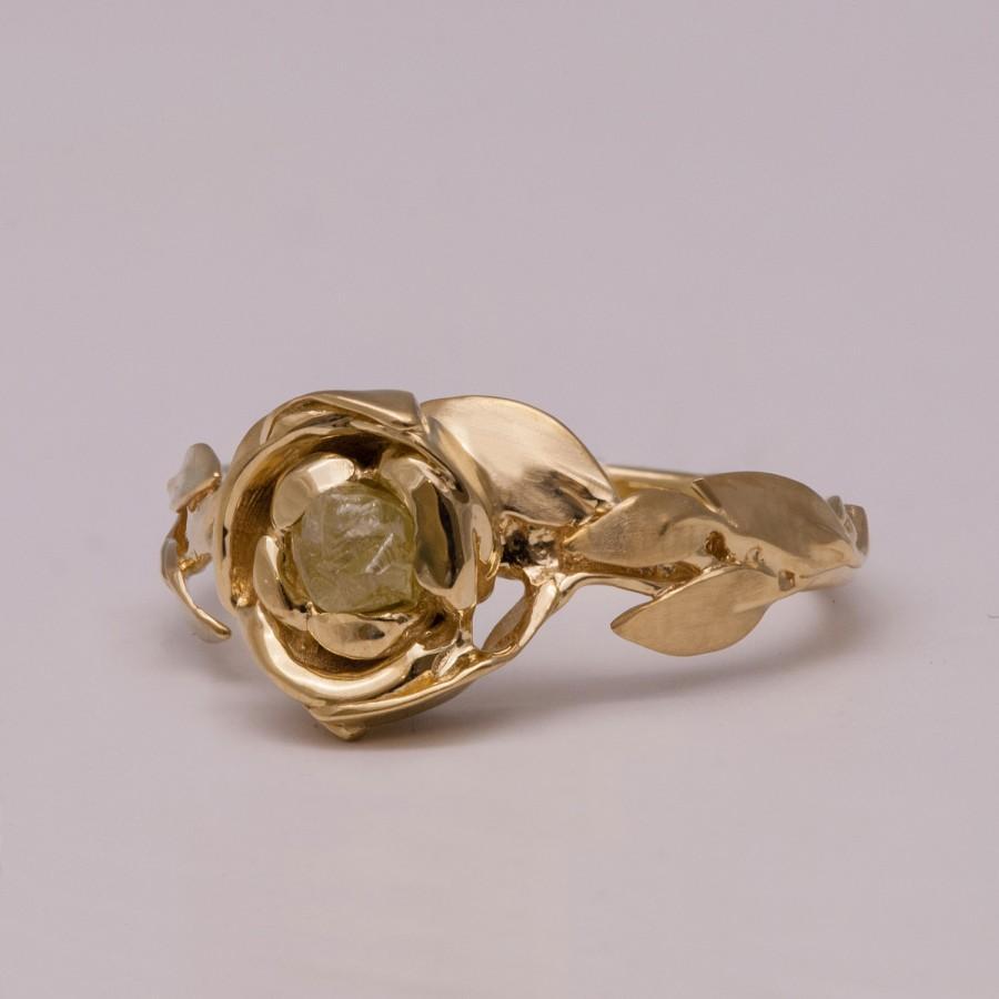 زفاف - Rose Engagement Ring No.1 - 14K Gold and  Rough Diamond engagement ring, Unique Engagement ring, rough diamond ring, raw diamond ring