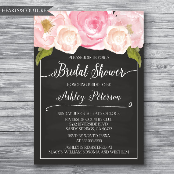 floral peony watercolor chalkboard bridal shower invitation bridal shower invitation wedding shower invite watercolor floral blush pink